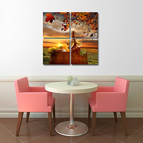 Gardenia Art - Wine Canvas Wall Art Pictures Abstract Prints Drinking Paintings Stretched and Framed Modern Paintings for Living Room and Bedroom Decoration, 12x12 inch per Piece, 4 pieces by Gardenia Art (Image #3)