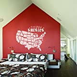 MairGwall USA Map Sticker Wall Decal Map Wallpaper United States Of America Travel Wall Decor Map Vinyl Wall Art B(Large,White)