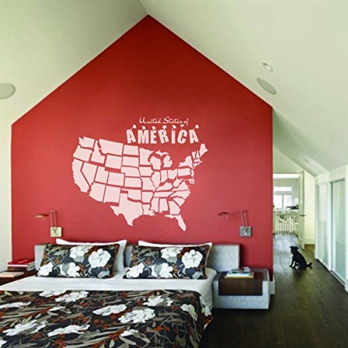 MairGwall USA Map Sticker Wall Decal Map Wallpaper United States Of America Travel Wall Decor Map Vinyl Wall Art B(Large,White) by MairGwall
