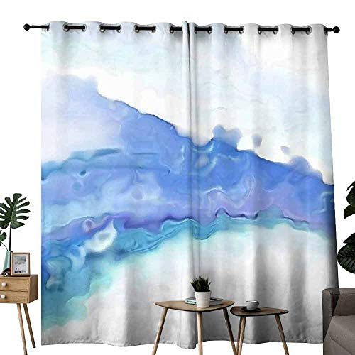duommhome Simple Curtain Hand Blue Painted Ink Texture. Abstract Background. Set of Two Panels W72 x L96