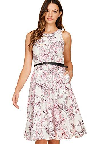 Poplin Belt Belted - Annabelle Women's Plus Size Belted PoplinSummer Poplin Dresses with Pockets with Black Belts White X-Large DC3134B