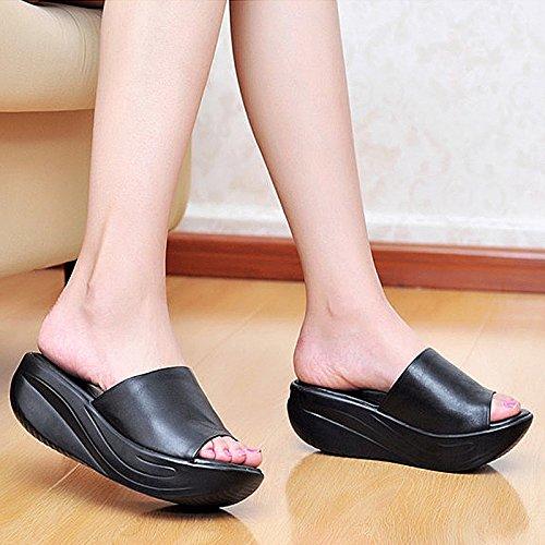 KHSKX-Freizeit Komfortable Neigung Weichen Boden Muffin Dicke Hintern Fisch Im Mund Sandalen Schuhe Mom. black