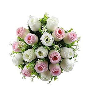 MARJON Flowers18 Heads Artificial Fake Silk Lilies Flower Bridal Bouquet Wedding Party Decor Perfect for Wedding, Bridal, Party, Home, Office Décor DIY Indoor Outdoor Decorations 81