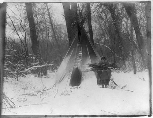 Infinite Photographs Photo: Winter-Apsaroke Indian Woman Carrying firewood, Snow, Edward S Curtis, c1908 Size: 8x10 (a ()