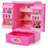 Robolife Baby Kids Educational Refrigerator Mini Fridge Appliances Kitchen Toy Pink for Girls 3+ by Robolife