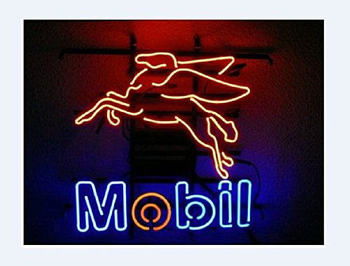 Mobil Gas & Oil Neon Sign 17''x14''Inches Bright Neon Light for Store Beer Bar Pub Garage Room by Handa