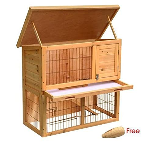 Jaula de madera para mascotas Popamazin de 2 pisos y zona para ...