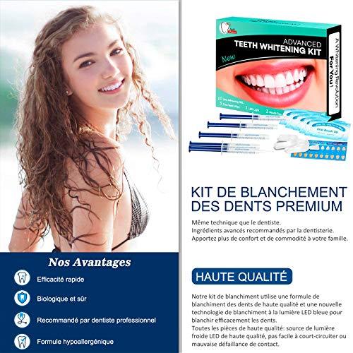 ISUDA Kit Blanchiment Dentaire, 10*Gel de Blanchiment des Dents, 1*LED Lampe, 2*Plateau Dentaire, Blanchiment Dentaire Professionnel et à Domicile, pour Taches de Fumée, Dents noires, Soin des Dents