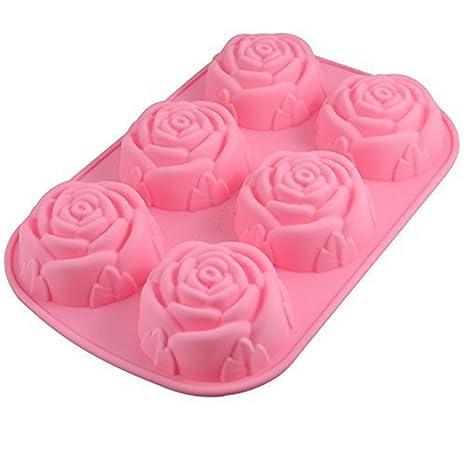 Hosaire Molde de silicona de 6 cavidades en forma de rosa para hacer en casa jabón