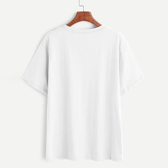 VENMO Las Mujeres Verano Rosas Bordado Blusa de Manga Corta Camiseta (Blanco): Amazon.es: Ropa y accesorios
