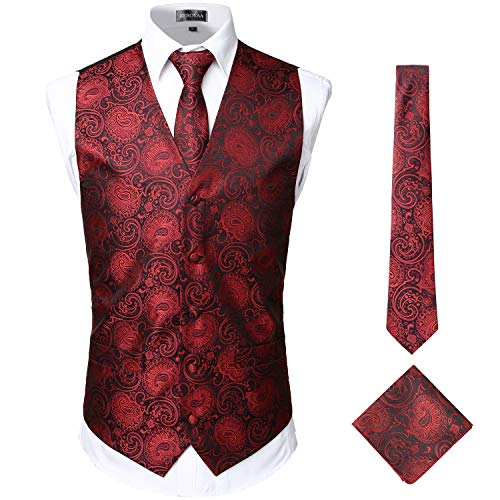 (ZEROYAA Mens Classic 3pc Jacquard Paisley Vest Set Necktie Pocket Square Waistcoat for Suit or Tuxedo ZLSV08 Burgundy Black X-Large)