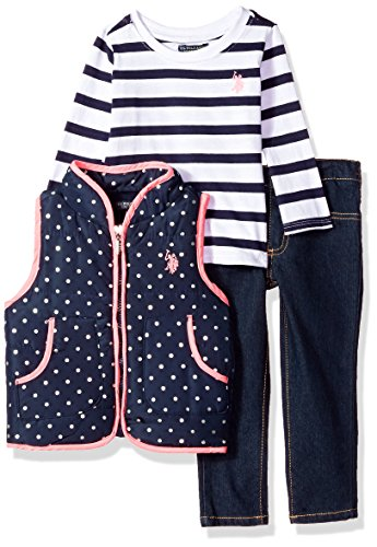 U.S. Polo Assn.. Toddler Girls' Knit Top, Vest and Pant Set, Peacoat, 4T (Coat Top Pants)