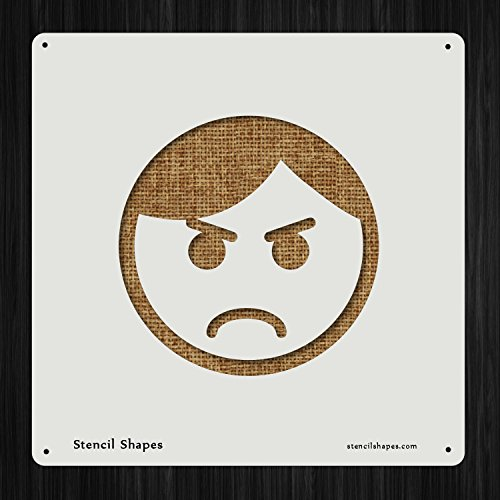 Angry Mad Head Face Expression Emotion Emoji, Style 6223 DIY Plastic Stencil Acrylic Mylar Reusable ()