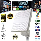 ANTOP Outdoor TV Antenna Multi Directional Reception for UHF/VHF Reception Enhanced with Built-in 4G LTE Filter, 65 Miles Range, 2 TVs Signal Splitter & 16ft Detachable Coaxial Cable, White