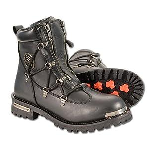 "Milwaukee Leather Diamond Women's 6"" Twin Zipper Lock Riding Boots (Black, Size 8)"