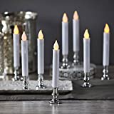 Flameless White LED Taper Candles with Silver Removable Candle Holders, Remote & Batteries Included - Set of 8