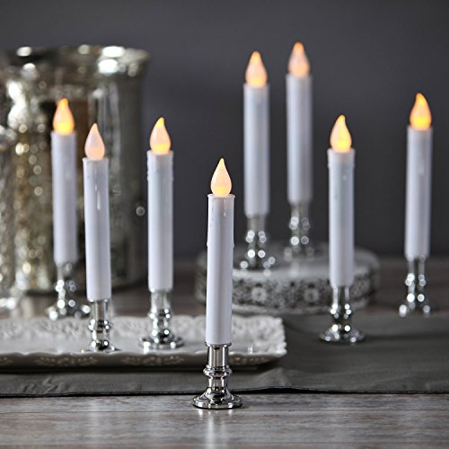 (Flameless White LED Taper Candles with Silver Removable Candle Holders, Remote & Batteries Included - Set of 8)