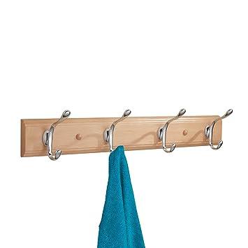 mDesign Perchero de madera con 4 ganchos dobles – Práctico colgador de ropa para abrigos,