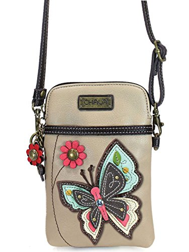 Phone Women With Ivory Pu Multicolor Adjustable Crossbody Strap Leather Cell Purse Butterfly Chala Handbag wICERqx