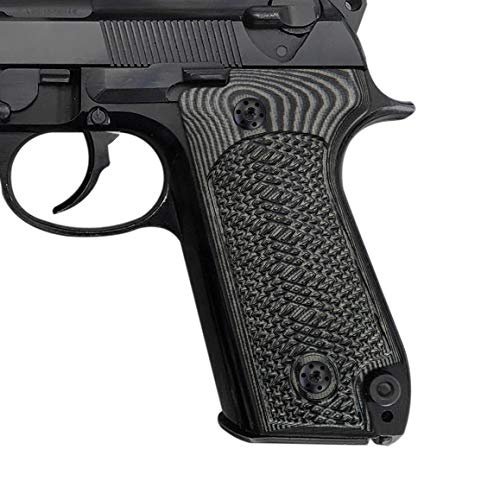 Cool Hand Grips for Beretta 92S, Tactical Checkered Texture, Grey/Black G10, Brand,B92P-C-5