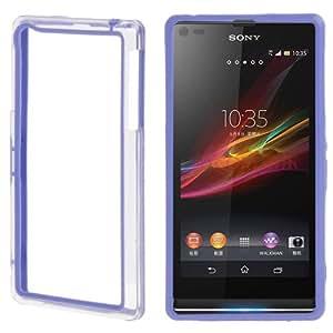 Bumper Transparent Plastic Frame TPU Case Funda Carcasa para Sony Xperia Z1 L39H, (Blue)