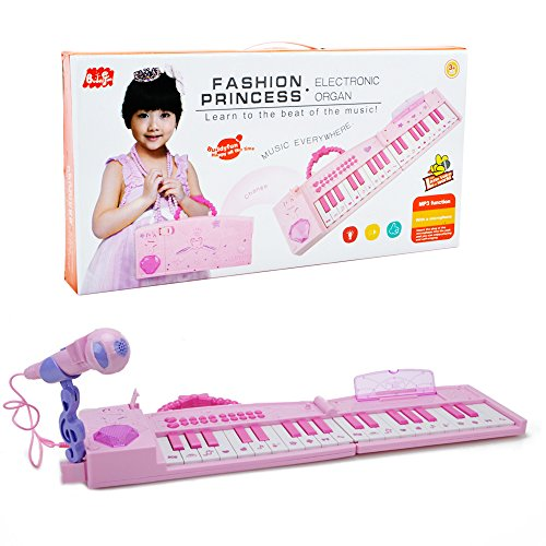Electronic Musical Piano Karaoke Toy – Wishtime 2017 New Design Folded Multifunction 37 Keys Keyboard Piano Instrument for 3+ Girls with Real Working Microphone and Colorful Light MP3 Record Sing Pink