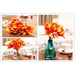 12 PCS High Quaulity Latex Real Touch Cymbidium Orchid Artificial Flower Bouquet for Wedding Holiday Bridal Bouquet Home Party Decor bridesmaid (Orange) 3
