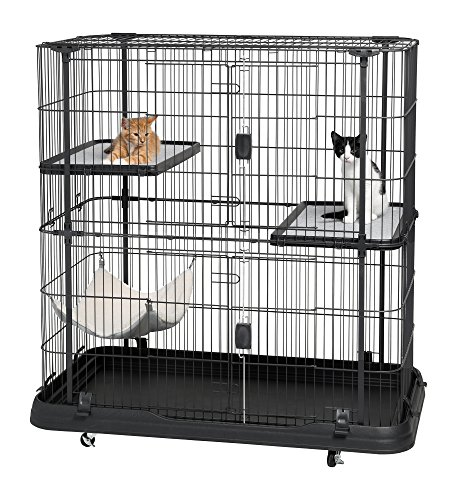 51W6g%2BeG6TL Prevue Pet Products 7501 Deluxe Cat Home with 3 Levels, Black