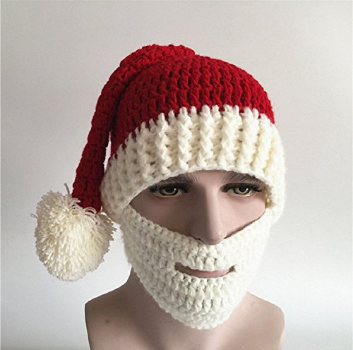 [Unisex Santa Hat&Beard Set,Fashion Windproof Warm Christmas Party Accessory Red Knitted Beanie Cap with White] (Mustache Costumes Ideas)