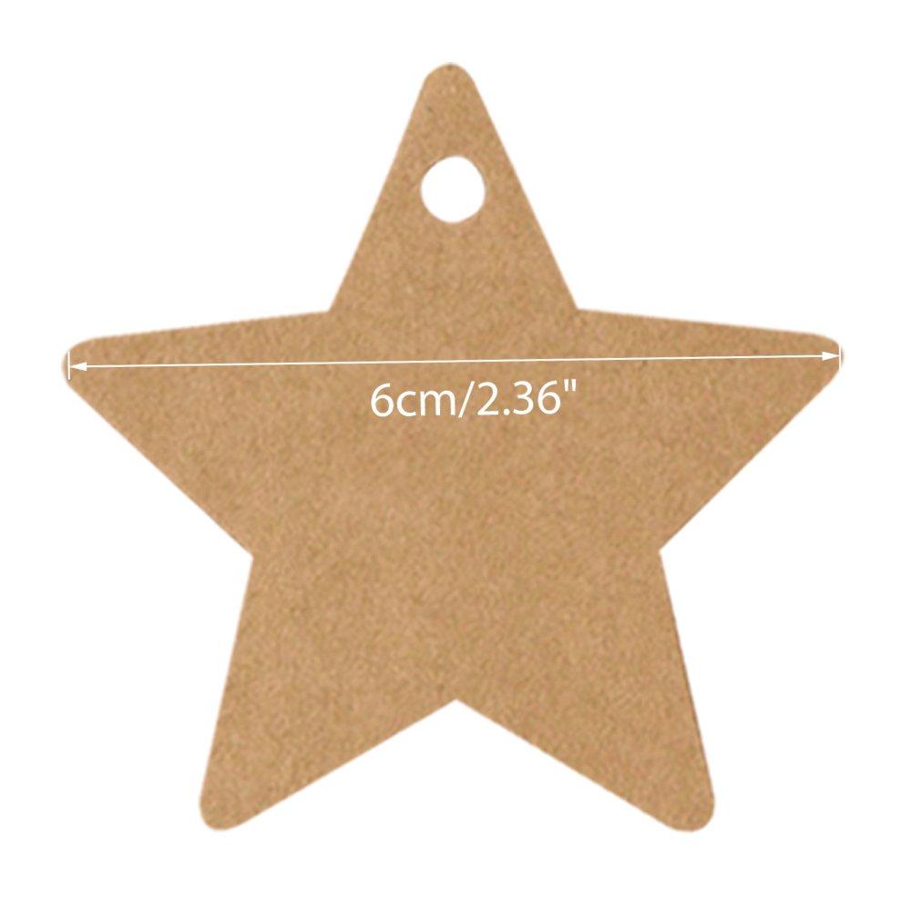 6 x 6 cm 100 etichette di carta da pacco regalo con spago da 30 m per appenderle perfette per regali di nozze o come cartellini dei prezzi