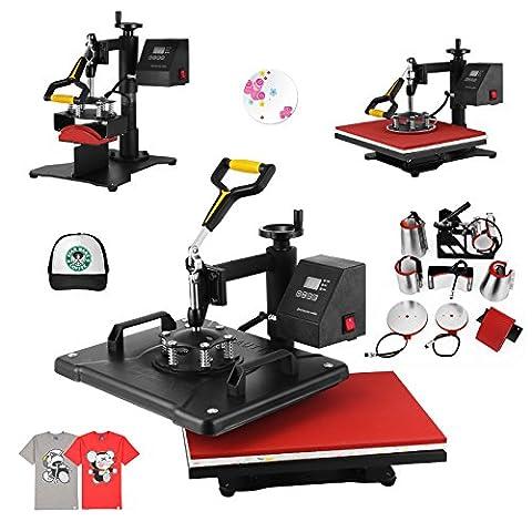 ShareProfit 12'' X 15'' 8 In 1 Digital Heat Press Adjustable Multi-spring Balancer Heat Press Machine 1400W T Shirt Press Machine Swing-away Hat Press Non-Stick (12'' X 15'' 8 In (15 X 15 Power Heat Press)