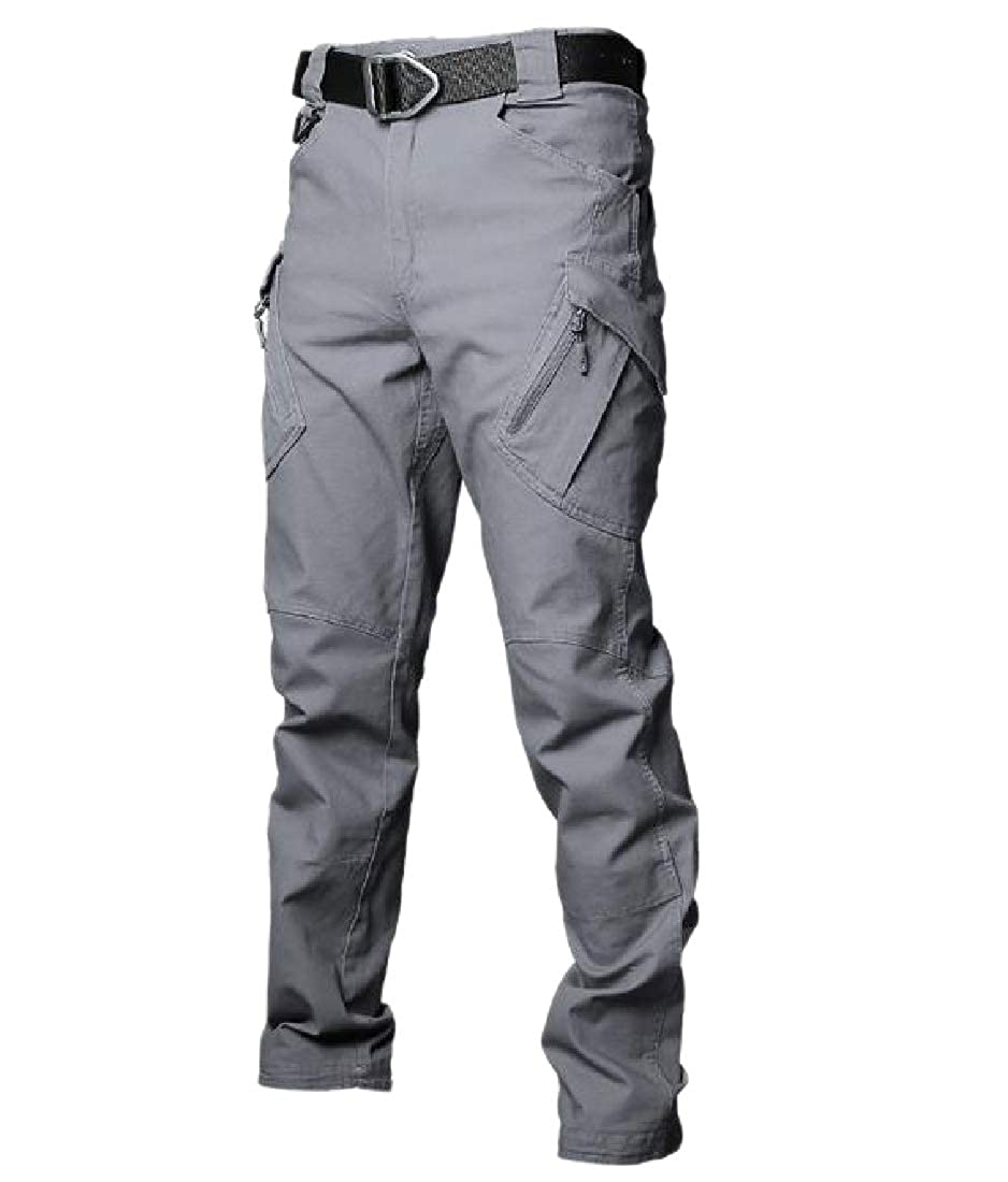 YUNY Mens Baggy Multi Pockets Outwear Cotton Tactical Combat Karate Pants Grey XS