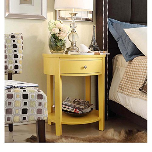 ModHaus Living Modern Style Wood Accent Nightstand End Sofa Table Oval Shaped with Storage Drawer and Bottom Shelf- Includes Pen (Yellow)