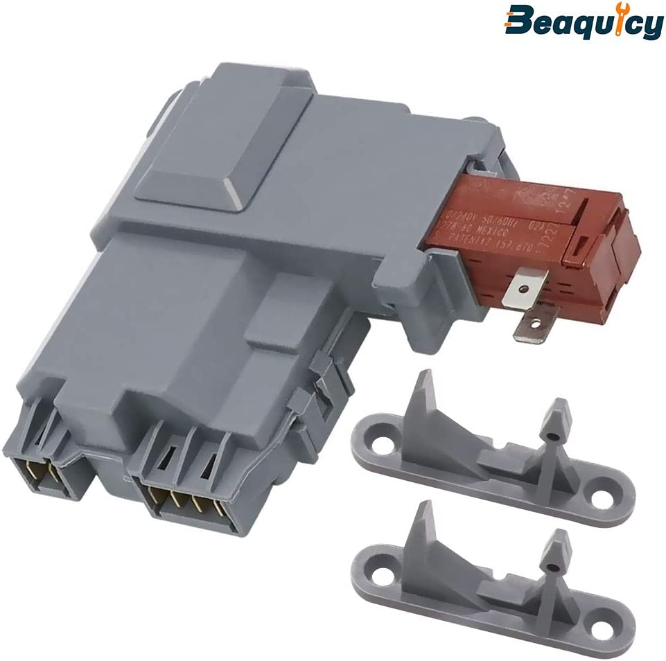 Beaquicy 131763202 Washer Front Load Washer Door Lock Latch Switch with 131763302 Door Strike - Replacement for Frigidaire Kenmore Crosley Washing Machine