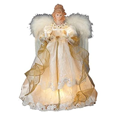 Kurt Adler 10-Light 16-1/2-Inch Ivory and Gold Angel Treetop