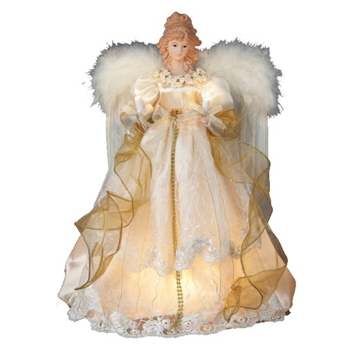 Kurt Adler 10-Light 16-1/2-Inch Ivory and Gold Angel Treetop (Kurt Adler Angel Tree Topper)