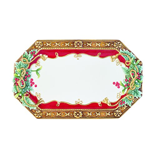 Fitz and Floyd 49-527 Yuletide Holiday Elongated Serving Tray, Red