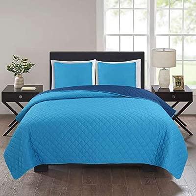 Colcha bouti marino - celeste (250 x 255 cm) para cama de 150 cm + 2 fundas cojines 50 x 50 cm