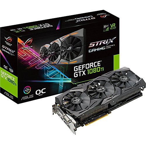 ASUS ROG-STRIX-GTX1080TI-O11G-GAMING GeForce 11GB OC Edition VR Ready 5K HD Gaming HDMI DisplayPort DVI Overclocked PC GDDR5X Graphics Card by Asus (Image #1)