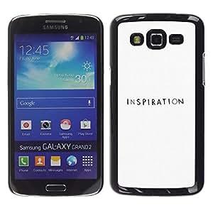La inspiración Escritor Negro Blanco Motivación - Metal de aluminio y de plástico duro Caja del teléfono - Negro - Samsung Galaxy Grand 2