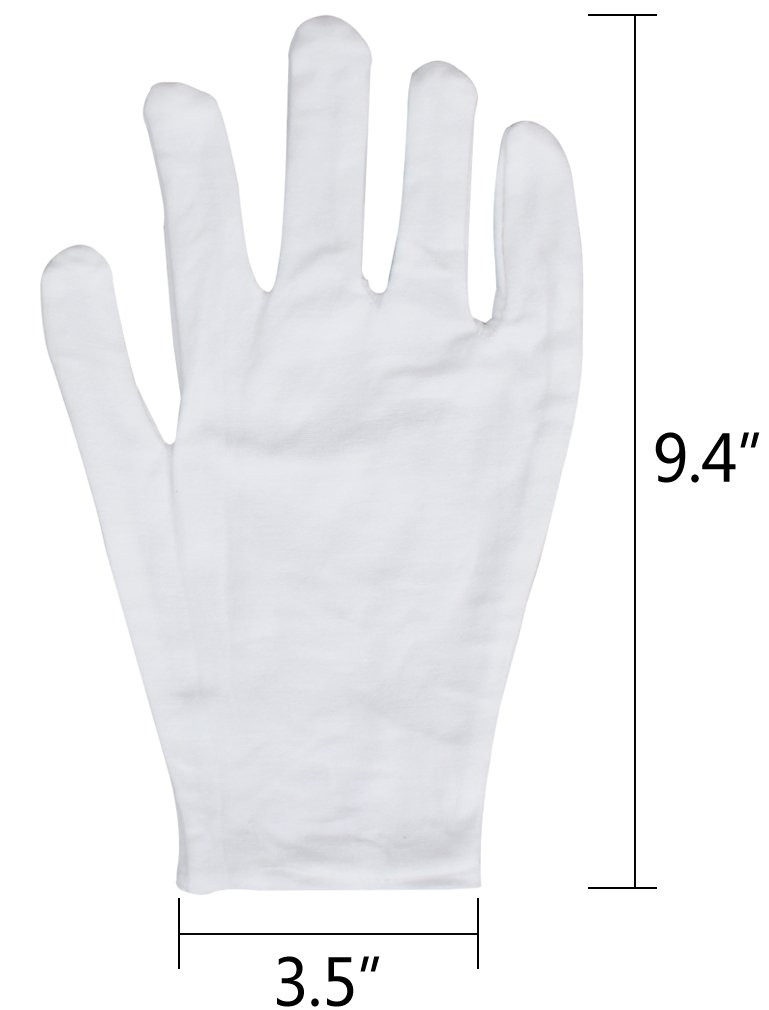 Amariver 12 Pairs White Cotton Gloves, 9.4'' Extra Large Size Thicker and Resuable Soft Works Glove for Coin Jewelry Silver Inspection by Amariver (Image #4)