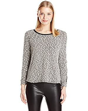 Calvin Klein Women's Sweater with Faux-Leather Piping