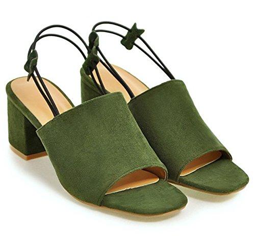 Easemax, Donna, Alla Moda, In Camoscio Con Finta Pelle Scamosciata, Cinturino Alla Caviglia Con Tacco Medio, Sandali Con Tacco Verde