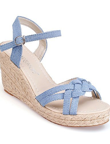 Wedge Shoes Denim Sandals Casual Blue ShangYi Blue Wedges Women's Heel tHqwZgn