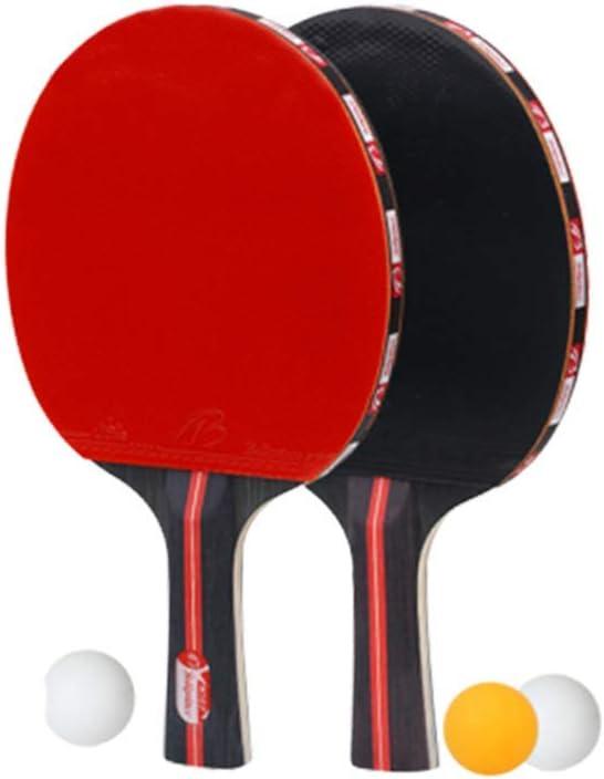 FEEE-ZC Juego de Palas de Ping Pong 2 Palas de Ping Pong y 3 Pelotas de Ping Pong Ideal para Principiantes y niños (Rojo)