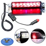 HQRP 8 LED Car Deck Truck Dash Strobe Flash Warning Light Emergency 12V 8 Red LEDs plus Coaster
