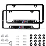Wonderchef 2Pack M Logo Stainless Steel License Frame with for BMW,with Screw Caps Cover Set-Black (BMW-M)