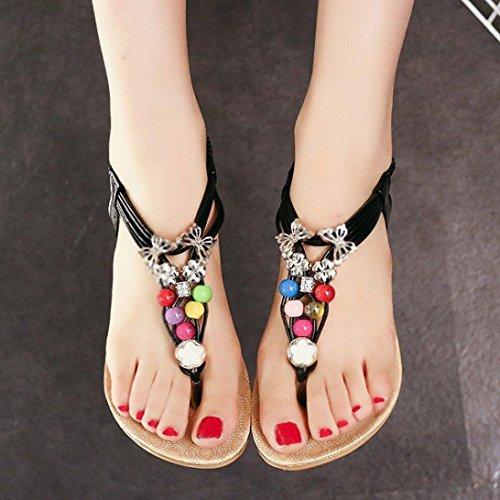 Beach Beaded Shoes Black Toe Sweet Sandals Summer Bohemia Sandals Clip Transer wH8Tt
