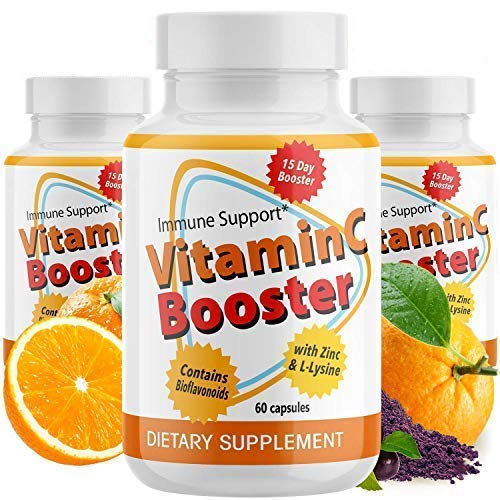 (3-Pack) Anumed Vitamin C-2000mg + Zinc + L-Lysine + Bioflavonoids | Maximum Immune System Booster (180 Capsules) Daily Essential Nutrients |High Antioxidants | Gluten-Free| Non-GMO | Vegan-Friendly
