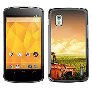 LECELL--Funda protectora / Cubierta / Piel For LG Nexus 4 E960 -- Hierba campos Retro --